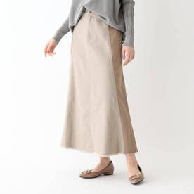 【大きいサイズあり・13号】FURRY RATE サイド切替デザインスカート (サンドベージュ)