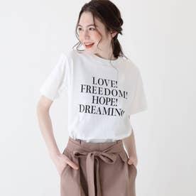 【大きいサイズあり・13号・15号】ロゴTシャツ (オフホワイト)