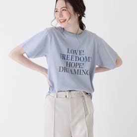 【大きいサイズあり・13号・15号】ロゴTシャツ (サックス)