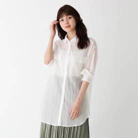 【大きいサイズあり・13号】コットンシフォンシアーシャツ (オフホワイト)