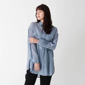 【大きいサイズあり・13号】コットンシフォンシアーシャツ (ブルー)