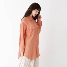 【大きいサイズあり・13号】コットンシフォンシアーシャツ (ライトオレンジ)
