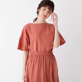 【大きいサイズあり・13号】リネンブレンド袖フレアブラウス (ピンク)