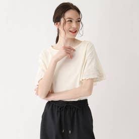 【大きいサイズあり・13号】イースターカクタスフラワー刺繍 袖フレアカットソー (オフホワイト)