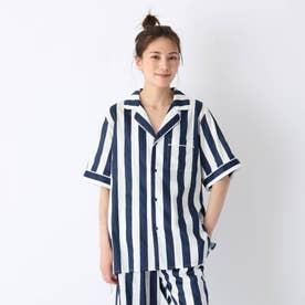 オーガニックコットンシャツ (ネイビーストライプ)