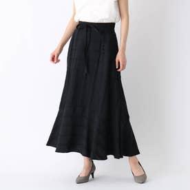 【大きいサイズあり・13号・15号】ドビーストライプ切替マーメイドスカート (ブラック)