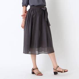 オーガンジーウエストリボンスカート (チャコールグレー)