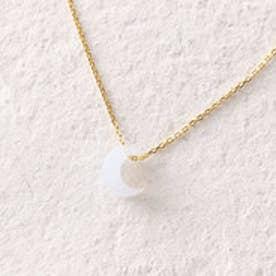 天然石 シルバーネックレス (ホワイト)