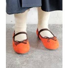 【ママとお揃い】16-18cm ゴム付き バレエシューズ (KIDS) (オレンジスエード)