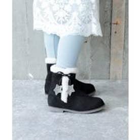 フリンジ付きショートブーツ(KIDS)(ブラック)