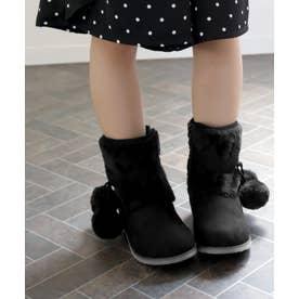 ファーボンボン付きキッズショートブーツ (KIDS) (ブラック)