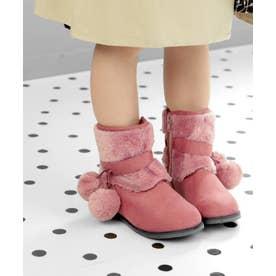 ファーボンボン付きキッズショートブーツ (KIDS) (ピンク)