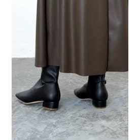 スクエアトゥアンクルブーツ (ブラック)