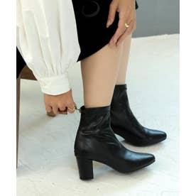 バックファスナーストレッチショートブーツ (LADYS) (ブラック)