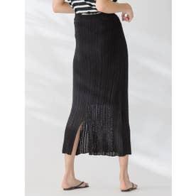 【socolla】透かし編みニットスカート (ブラック)