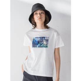 【socolla】フラワーフォトプリントT (オフホワイト)