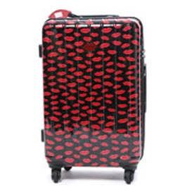 スーツケース 50L拡張機能付トラベルハードキャリー (ブラック&レッド)