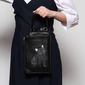 猫ちゃん刺繍2WAYスタイルミニバッグ (ブラック)
