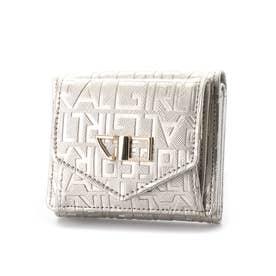 ロゴエンボス加工3つ折りコンパクト財布 (シルバー)