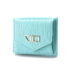 ロゴエンボス加工3つ折りコンパクト財布 (ブルー)