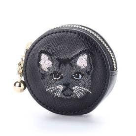 猫ちゃん刺繍キーホルダー付きコインケース (ブラック)
