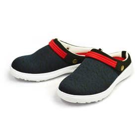 サボサンダル メンズ スリッポン クロッグサンダル 2way 軽量 メッシュ 靴 シューズ (ネイビー)