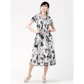 マジョリカプリーツドレス (水彩風花柄(モノトーン系))