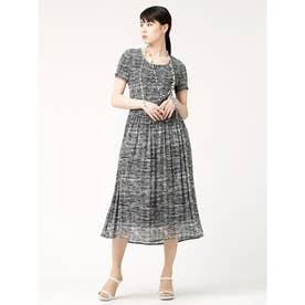 マジョリカプリーツドレス (杢調ツイード柄(白黒系))