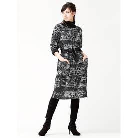 総柄プリント 鹿の子ニットジャージー パイピング ラグランサックドレス(ポケット・サッシュベルト付き) (ブラックグレー)