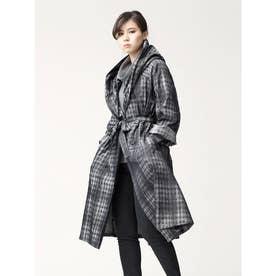 ダブルジャガードシャンブレー 4WAY ショール衿コート (かすれチェック柄(シャンブレーグレー))