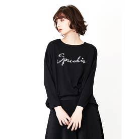 ロゴビジュー刺繍 長袖プルオーバー (ブラック)