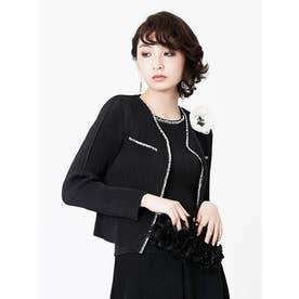 ビーズ刺繍シャトル ノーカラージャケット (ブラック)