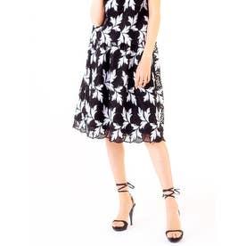 スカラレース ギャザースカート (ブラック×ホワイト)