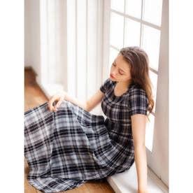 マジョリカプリーツドレス (タータンチェック柄(黒白系))