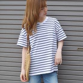 【spiritoso】20/-天竺 USAコットンポケット付きVネックTシャツ (オフ×ネイビー)