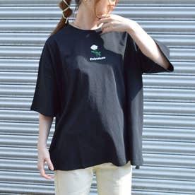 20/-天竺 ボックスTシャツ(刺繍 ホワイトローズ) (ブラック)