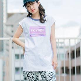 20/-天竺 襟配色 フレンチスリーブTシャツ(Voyage) (ホワイト)