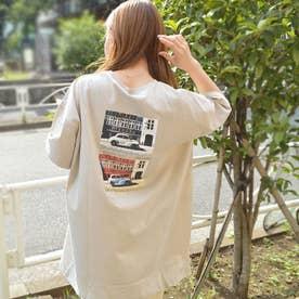 20/-天竺 チュニック Tシャツ(フォト CAR) バックプリント (グレージュ)