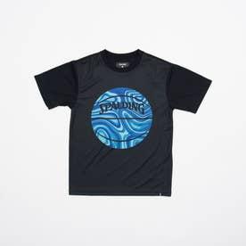 ジュニア バスケットボール 半袖Tシャツ ジュニアTシャツ ネオンマーブルボール SJT201660 (ブラック)