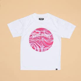 ジュニア バスケットボール 半袖Tシャツ ジュニアTシャツ ネオンマーブルボール SJT201660 (ホワイト)