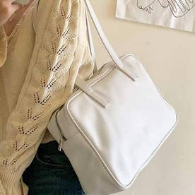 スクエアデザインスポーツバッグ (ホワイト)