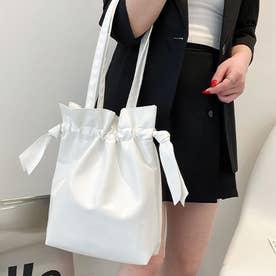 巾着型ショルダーバッグ (ホワイト)