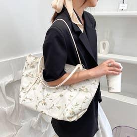 花柄刺繍ショルダーバッグ (ホワイト)