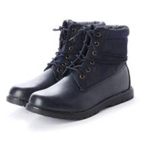 4cm防水配色ブーツ (ネイビー)