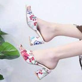 花柄チャンキーヒールサンダル (ホワイト)