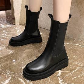 厚底サイドゴアロングブーツ (ブラック)
