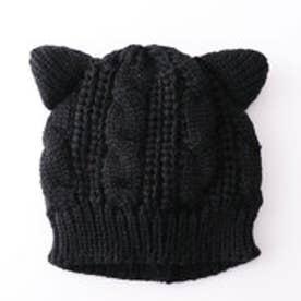 ケーブル編みねこ耳ニットキャップ (ブラック)