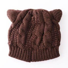 ケーブル編みねこ耳ニットキャップ (コーヒー)