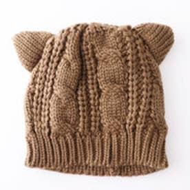 ケーブル編みねこ耳ニットキャップ (ブラウン)