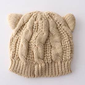 ケーブル編みねこ耳ニットキャップ (ベージュ)